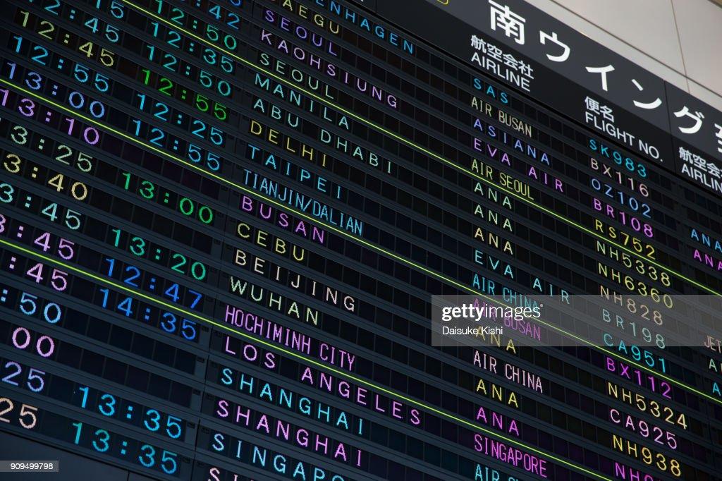 Arrival Departure Board in Narita Airport, Japan : Stock Photo