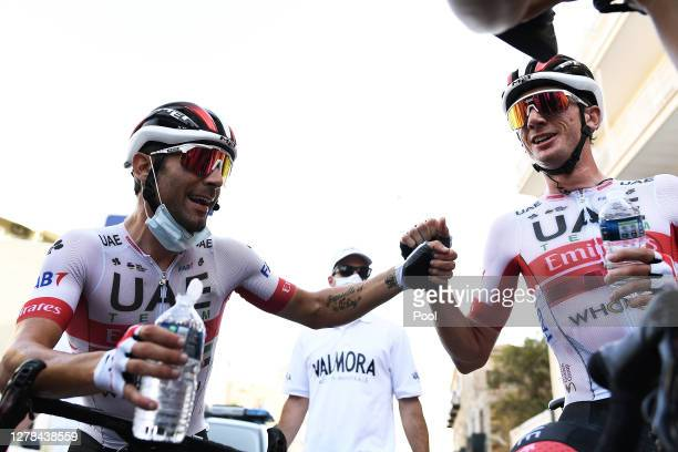 Arrival / Diego Ulissi of Italy and UAE Team Emirates / Brandon Mcnulty of The United States and UAE Team Emirates / Celebration / during the 103rd...