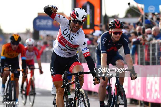 Arrival / Diego Ulissi of Italy and UAE Team Emirates / Celebration / Tao Geoghegan Hart of The United Kingdom and Team INEOS Grenadiers / during the...