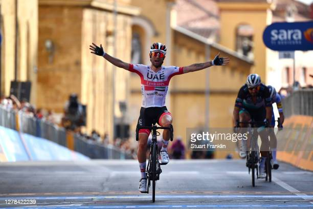 Arrival / Diego Ulissi of Italy and UAE Team Emirates / Celebration / during the 103rd Giro d'Italia 2020, Stage 2 a 149km stage from Alcamo to...