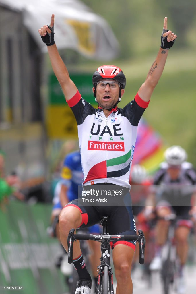 Arrival / Diego Ulissi of Italy and UAE Team Emirates / Celebration / during the 82nd Tour of Switzerland 2018, Stage 5 a 155,7km stage from Gstaad to Leukerbad 1385m on June 13, 2018 in Leukerbad, Switzerland.