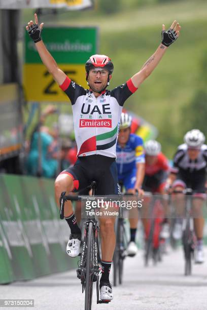 Arrival / Diego Ulissi of Italy and UAE Team Emirates / Celebration / during the 82nd Tour of Switzerland 2018, Stage 5 a 155,7km stage from Gstaad...