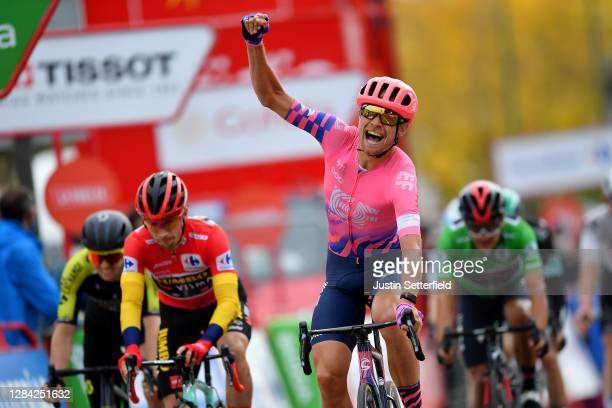 Arrival / Dion Smith of New Zealand and Team Mitchelton - Scott / Primoz Roglic of Slovenia and Team Jumbo - Visma Red Leader Jersey / Magnus Cort...