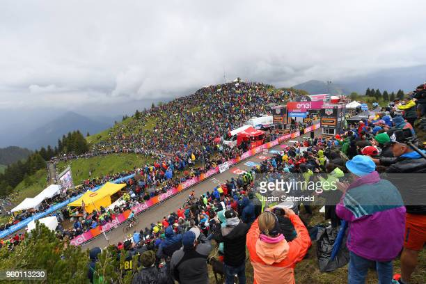 Arrival / Domenico Pozzovivo of Italy and Team Bahrain-Merida / Miguel Angel Lopez of Colombia and Astana Pro Team / Monte Zoncolan / Mountains /...