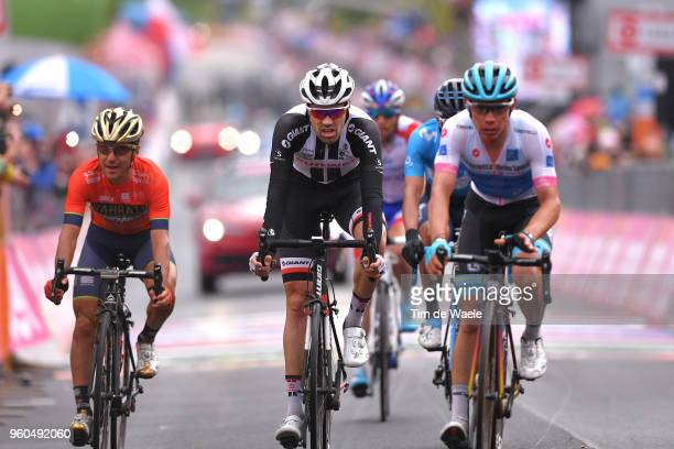 Arrival / Domenico Pozzovivo of Italy and Team Bahrain-Merida / Tom Dumoulin of The Netherlands and Team Sunweb / Miguel Angel Lopez of Colombia and...