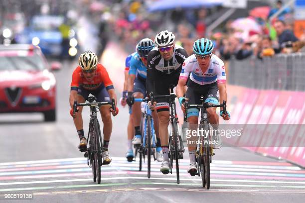 Arrival / Domenico Pozzovivo of Italy and Team BahrainMerida / Tom Dumoulin of The Netherlands and Team Sunweb / Miguel Angel Lopez of Colombia and...