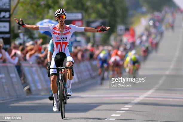 Arrival / Dries De Bondt of Belgium and Team Corendon Circus / Celebration / during the 72nd Halle Ingooigem 2019 a 2009km race from Halle to...