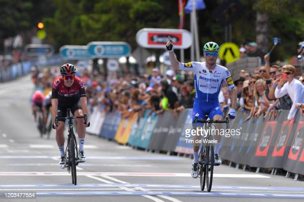 Arrival / Dries Devenyns of Belgium and Team Deceuninck - Quick-Step / Celebration / Pavel Sivakov of France and Team INEOS / during the 6th Cadel...