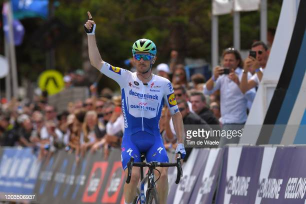 Arrival / Dries Devenyns of Belgium and Team Deceuninck - Quick-Step / Celebration / during the 6th Cadel Evans Great Ocean Road Race 2020, Elite...