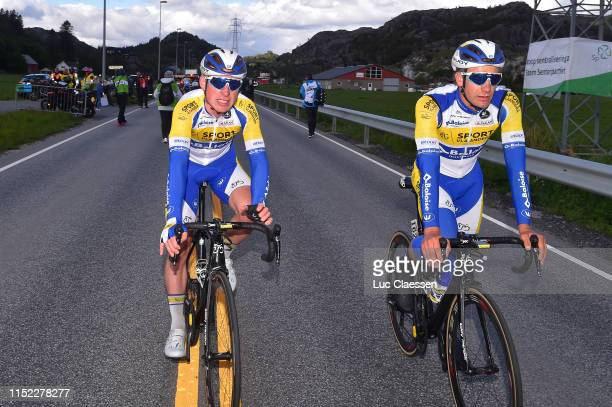 Arrival / Dries Van Gestel of Belgium and Team Sport VlaanderenBaloise / Kevin Deltombe of Belgium and Team Sport VlaanderenBaloise / during the 9th...