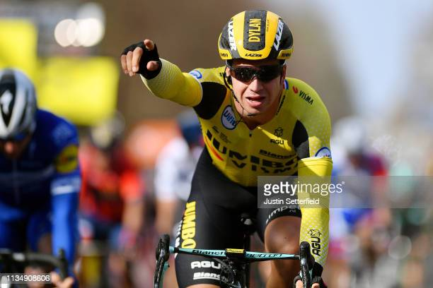 Arrival / Dylan Groenewegen of Netherlands and Team Jumbo Visma / Celebration / during the 77th Paris Nice 2019 Stage 1 a 1385km from Saint Germain...