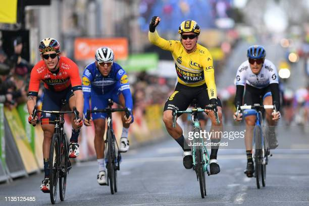 Arrival / Dylan Groenewegen of Netherlands and Team Jumbo Visma Yellow Leader Jersey / Celebration / Ivan Garcia Cortina of Spain and Team Bahrain...