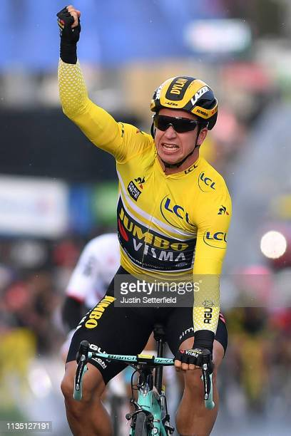 Arrival / Dylan Groenewegen of Netherlands and Team Jumbo Visma Yellow Leader Jersey / Celebration / during the 77th Paris Nice 2019 Stage 2 a 1635km...