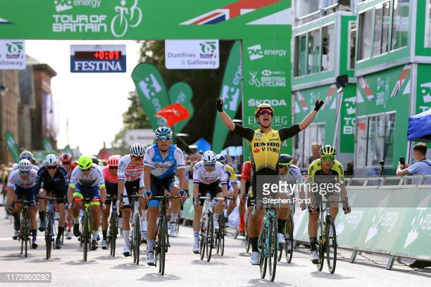 Arrival / Dylan Groenewegen of The Netherlands and Team Jumbo _ Visma Cycling / Celebration / Davide Cimolai of Italy and Team Israel Cycling Academy...