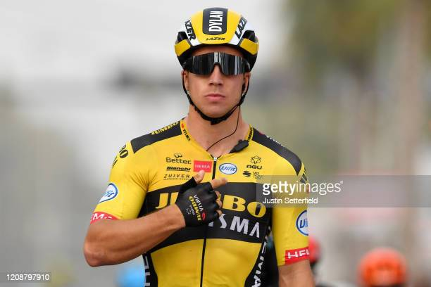 Arrival / Dylan Groenewegen of The Netherlands and Team Jumbo - Visma / Celebration / during the 6th UAE Tour 2020, Stage 4 a 173km stage from Zabeel...