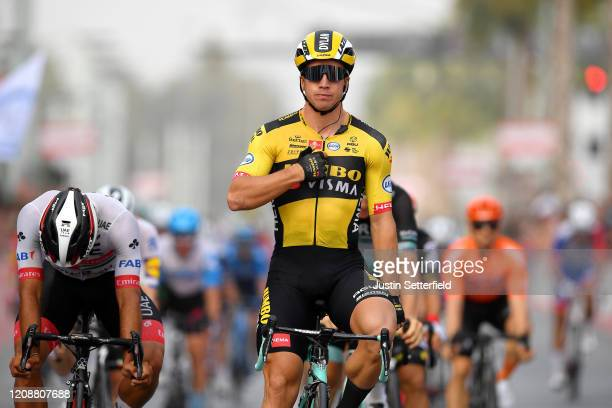 Arrival / Dylan Groenewegen of The Netherlands and Team Jumbo - Visma / Celebration / Fernando Gaviria Rendon of Colombia and UAE Team Emirates /...