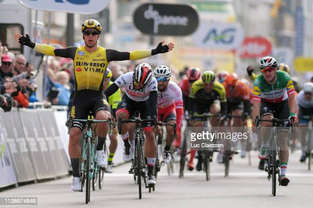Arrival / Dylan Groenewegen of The Netherlands and Team Jumbo-Visma / Celebration / Fernando Gaviria of Colombia and UAE Team Emirates / Elia Viviani...