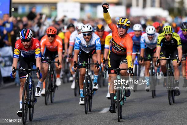 Arrival / Dylan Groenewegen of The Netherlands and Team Jumbo-Visma Orange Combined Jersey / Celebration / Fabio Jakobsen of The Netherlands and Team...