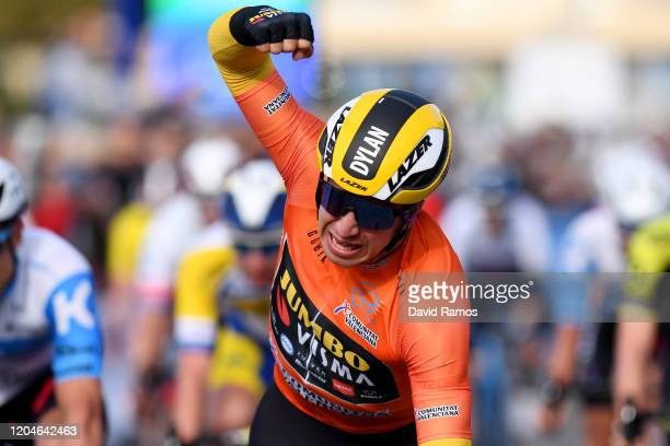 Arrival / Dylan Groenewegen of The Netherlands and Team Jumbo-Visma Orange Combined Jersey / Celebration / during the 71st Volta a la Comunitat...
