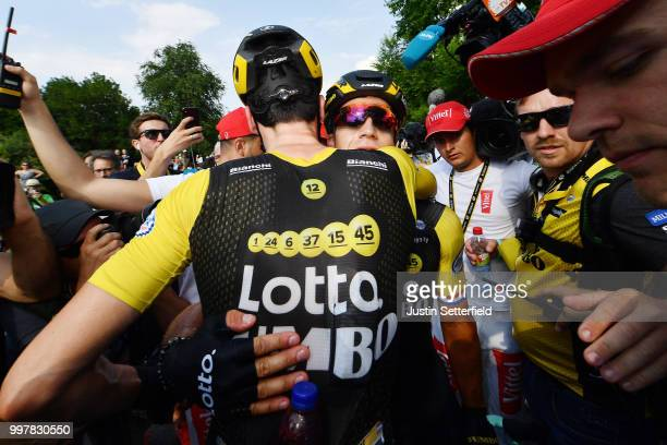 Arrival / Dylan Groenewegen of The Netherlands and Team LottoNL Jumbo / Timo Roosen of The Netherlands and Team LottoNL Jumbo / Celebration / during...