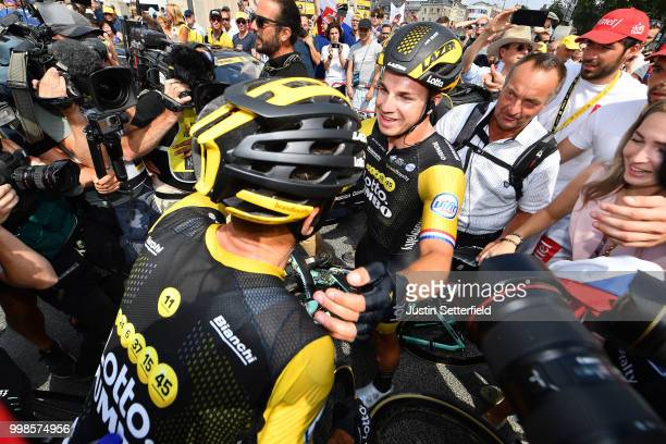 Arrival / Dylan Groenewegen of The Netherlands and Team LottoNL - Jumbo / Celebration / during the 105th Tour de France 2018, Stage 8 a 181km stage...