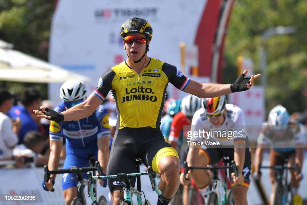 Arrival / Dylan Groenewegen of The Netherlands and Team LottonlJumbo / Celebration / during the 2nd Tour Of Guangxi 2018 Stage 1 a 1074km stage from...