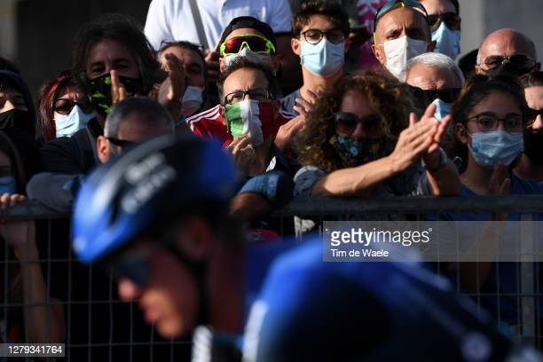 Arrival / Dylan Sunderland of Australia and NTT Pro Cycling Team / Public / Fans / Mask / Castle / Detail view / during the 103rd Giro d'Italia 2020,...