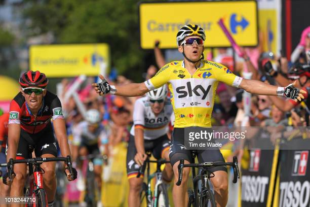 Arrival / Dylan Teuns of Belgium and Bmc Racing Team / Michal Kwiatkowski of Poland and Team Sky Yellow Leader Jersey / Celebration / during the 75th...
