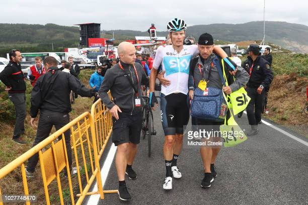 Arrival / Dylan Van Baarle of The Netherlands and Team Sky / Crash / during the 73rd Tour of Spain 2018, Stage 12 a 181,1km stage from Mondonedo to...