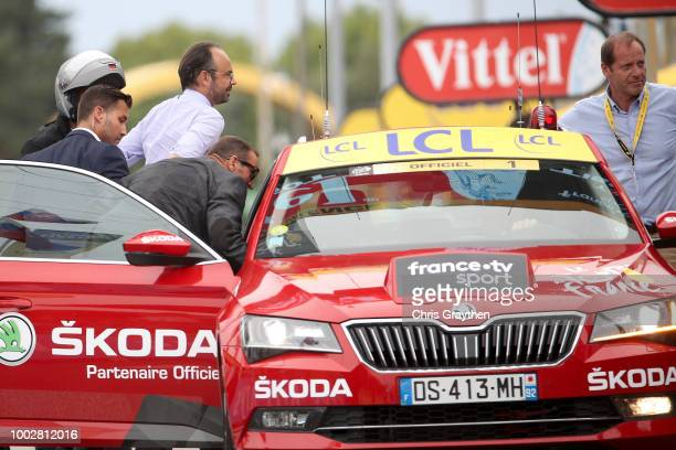 Arrival / Edouard Philippe of France, French Prime Minister / Christian Prudhomme of France TDF Director ASO / during the 105th Tour de France 2018,...