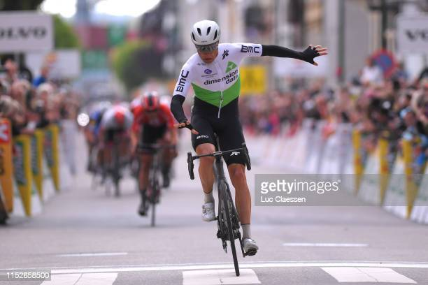 Arrival / Edvald Boasson Hagen of Norway and Team Dimension Data / Celebration / during the 9th Tour of Norway 2019 Stage 3 a 1797km stage from...