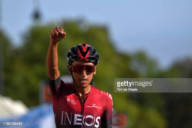 Arrival / Egan Arley Bernal Gomez of Colombia and Team INEOS / Celebration / during the 103rd Giro del Piemonte 2019 a 183km race from Agliè to...