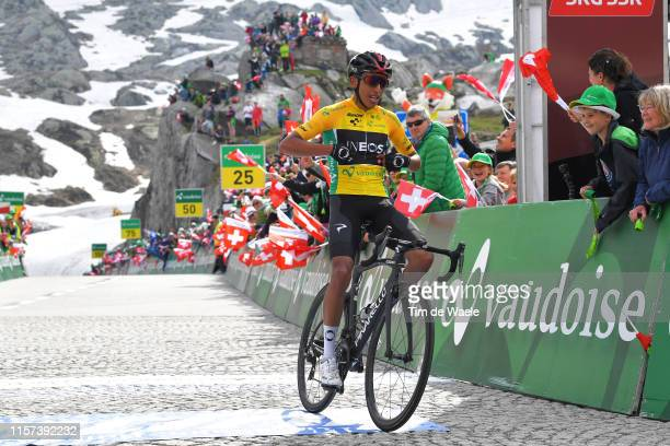 Arrival / Egan Arley Bernal of Colombia and Team INEOS Yellow Leader Jersey / Celebration / during the 83rd Tour of Switzerland Stage 7 a 2166km...