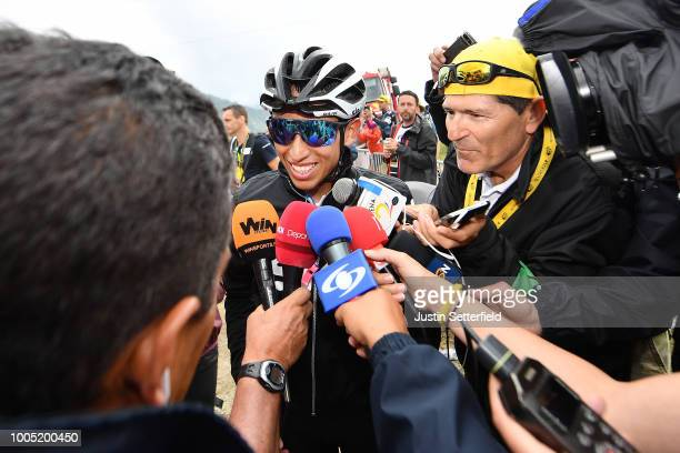 Arrival / Egan Arley Bernal of Colombia and Team Sky / Press Media / during the 105th Tour de France 2018 Stage 17 a 67km stage from BagneresdeLuchon...