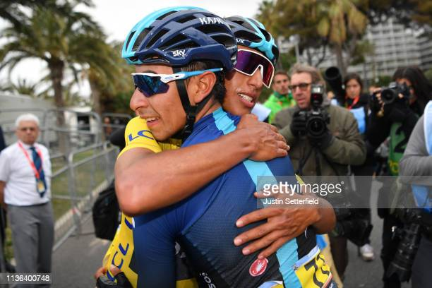 Arrival / Egan Arley Bernal of Colombia and Team Sky Yellow Leader Jersey / Ivan Ramiro Sosa of Colombia and Team Sky / Celebration / during the 77th...