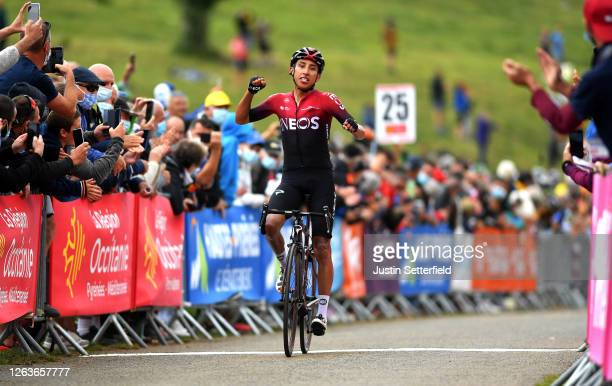 Arrival / Egan Bernal of Colombia and Team Ineos / Celebration / during the 44th La Route d'Occitanie - La Depeche du Midi 2020, Stage 3 a 163,5km...