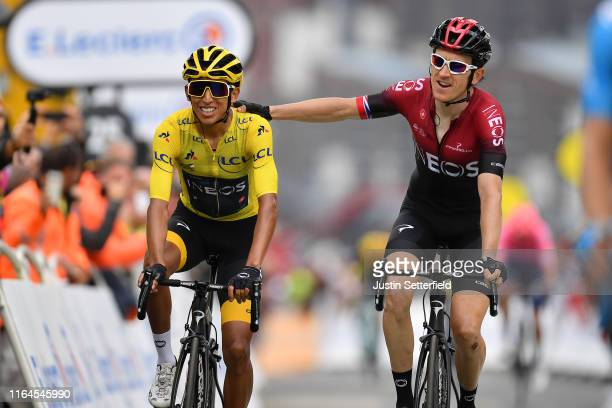 Arrival / Egan Bernal of Colombia and Team INEOS Yellow Leader Jersey / Geraint Thomas of United Kingdom and Team INEOS / Celebration / during the...