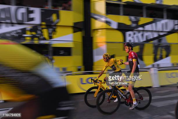 Arrival / Egan Bernal of Colombia and Team INEOS Yellow Leader Jersey / Geraint Thomas of United Kingdom and Team INEOS / during the 106th Tour de...