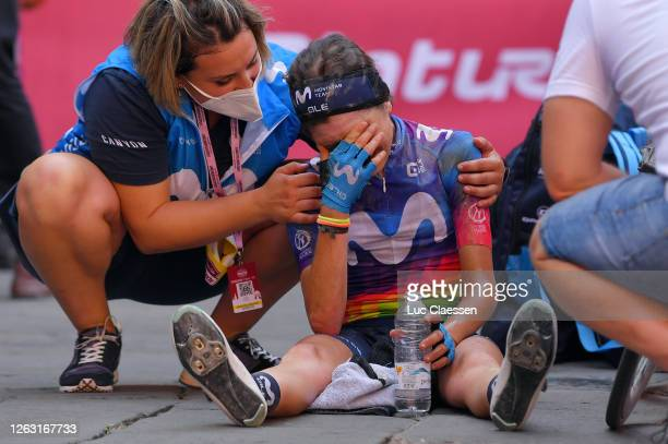 Arrival / Eider Merino Cortazar of Spain and Movistar Team Women / Cry / Soigneur / Dust / during the Eroica - 6th Strade Bianche 2020, Women Elite a...