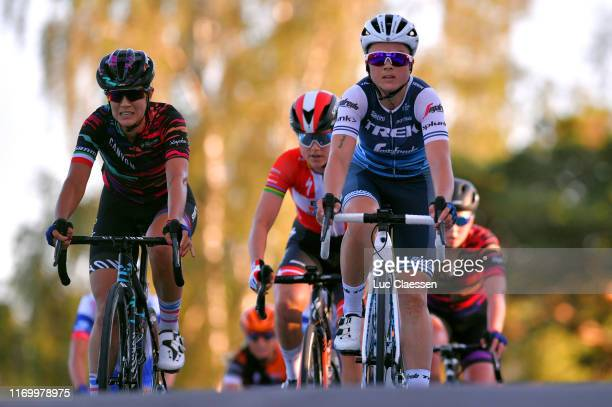 Arrival / Elena Cecchini of Italy and Team Canyon Sram Racing / Amalie Dideriksen of Denmark and Boels - Dolmans Cycling Team / Audrey Cordon-Ragot...