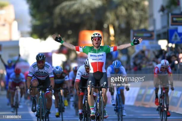 Arrival / Elia Viviani of Italy and Deceuninck - Quick-Step / Celebration / Peter Sagan of Slovakia and Team Bora - Hansgrohe / Fernando Gaviria of...
