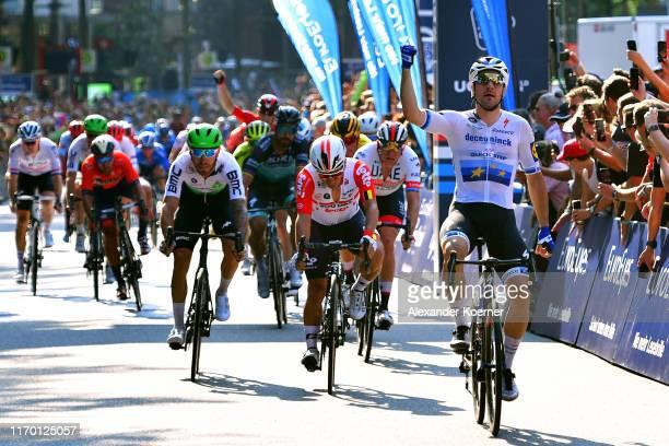 Arrival / Elia Viviani of Italy and Team Deceuninck - Quick Step / Celebration / Caleb Ewan of Australia and Team Lotto Soudal / Giacomo Nizzolo of...