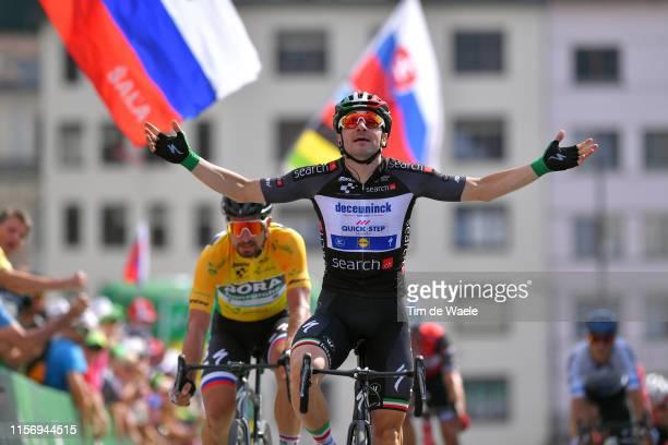 Arrival / Elia Viviani of Italy and Team Deceuninck QuickStep Black Pooints Jersey / Celebration / Peter Sagan of Slovakia and Team BoraHansgrohe...