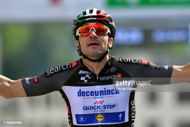 Arrival / Elia Viviani of Italy and Team Deceuninck QuickStep Black Pooints Jersey / Celebration / during the 83rd Tour of Switzerland Stage 5 a...