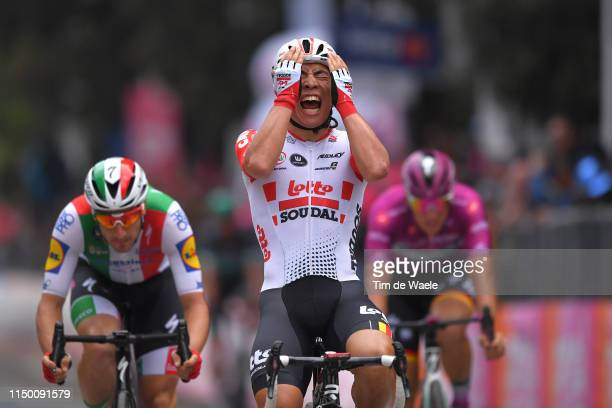 Arrival / Elia Viviani of Italy and Team Deceuninck QuickStep / Caleb Ewan of Australia and Team Lotto Soudal Celebration / Pascal Ackermann of...