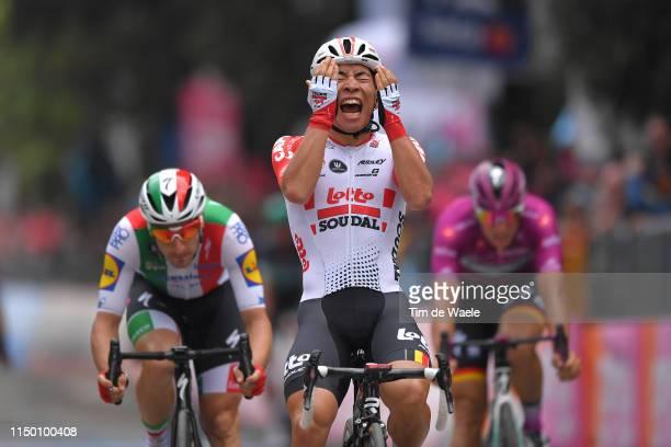 Arrival / Elia Viviani of Italy and Team Deceuninck - Quick-Step / Caleb Ewan of Australia and Team Lotto Soudal Celebration / Pascal Ackermann of...