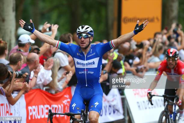 Arrival / Elia Viviani of Italy and Team Deceuninck - Quick-Step / Celebration / during the 8th Prudential RideLondon-Surrey Classic 2019 a 169km...
