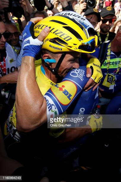 Arrival / Elia Viviani of Italy and Team Deceuninck - Quick-Step / Celebration / Julian Alaphilippe of France and Team Deceuninck - Quick-Step Yellow...