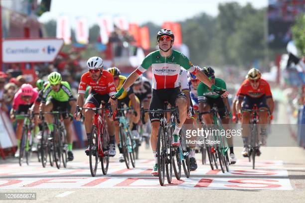 Arrival / Elia Viviani of Italy and Team Quick-Step Floors Celebration / Giacomo Nizzolo of Italy and Team Trek Segafredo / during the 73rd Tour of...