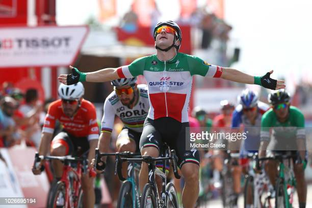 Arrival / Elia Viviani of Italy and Team QuickStep Floors Celebration / Peter Sagan of Slovakia and Team Bora Hansgrohe / Giacomo Nizzolo of Italy...